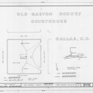 Title page with site plan, Gaston County Courthouse (former), Dallas, North Carolina