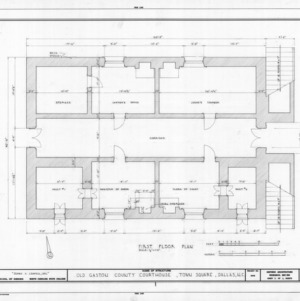 First floor plan, Gaston County Courthouse (former), Dallas, North Carolina