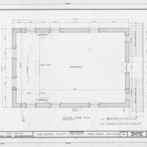 Second floor plan, Gaston County Courthouse (former), Dallas, North Carolina