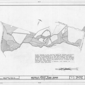 Site plan and notes, Rugby Grange, Henderson County, North Carolina