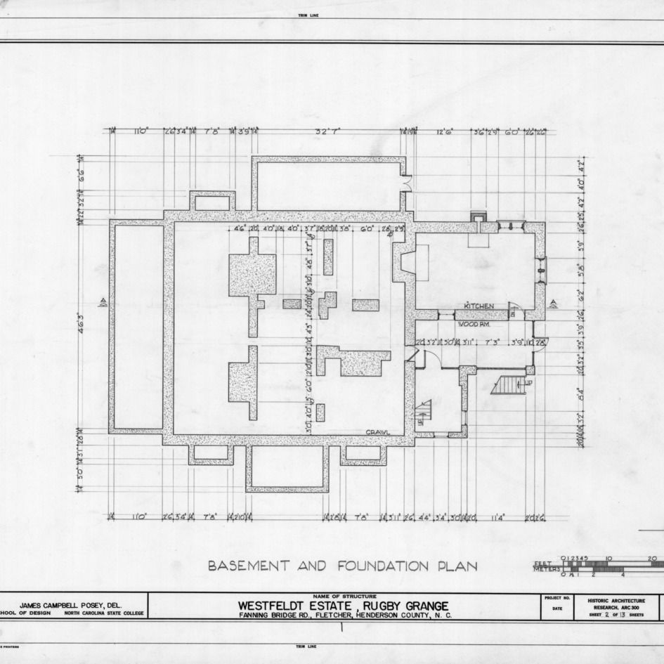 Basement and foundation plan, Rugby Grange, Henderson County, North Carolina