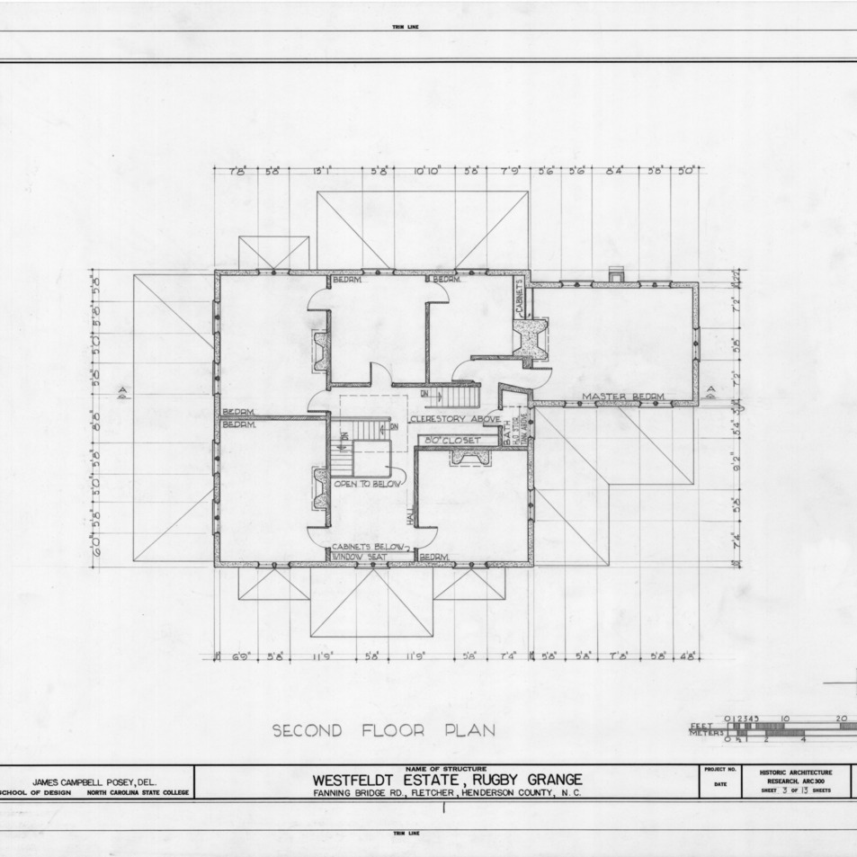 Second floor plan, Rugby Grange, Henderson County, North Carolina