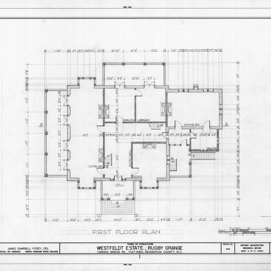 First floor plan, Rugby Grange, Henderson County, North Carolina