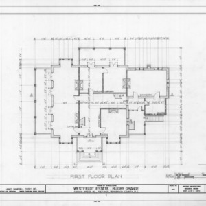 First floor plan, Rugby Grange, Henderson County, North Carolina