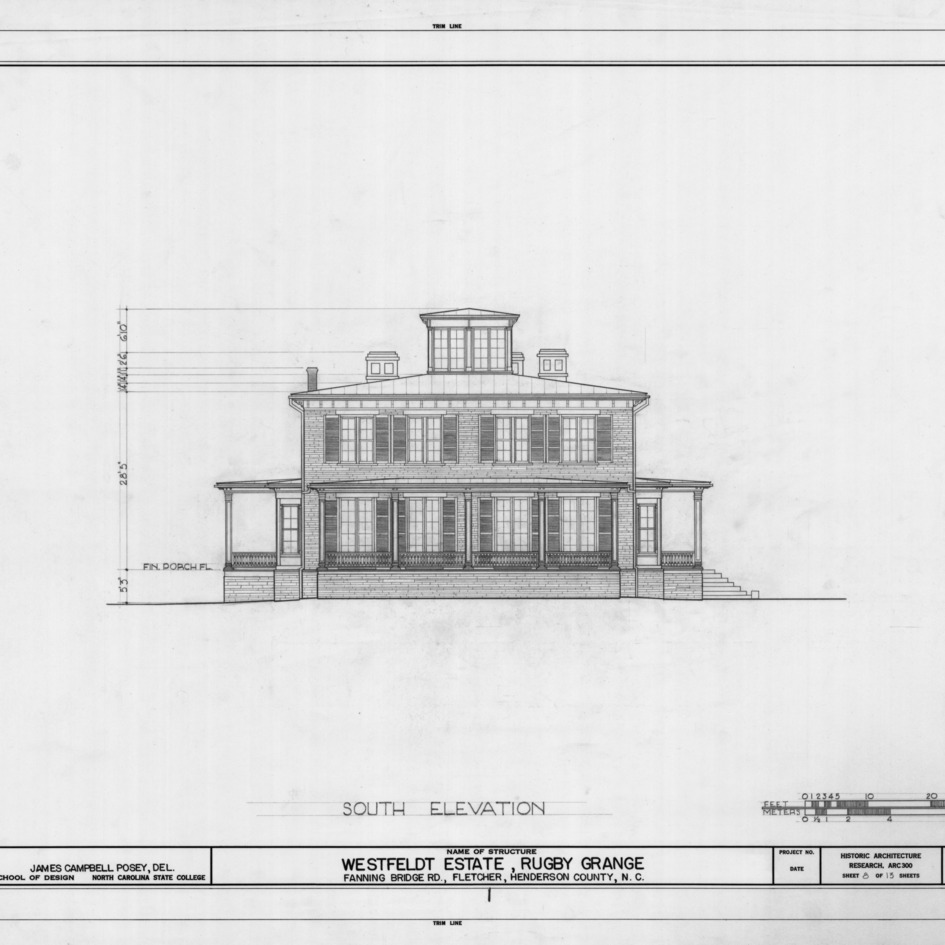 South elevation, Rugby Grange, Henderson County, North Carolina