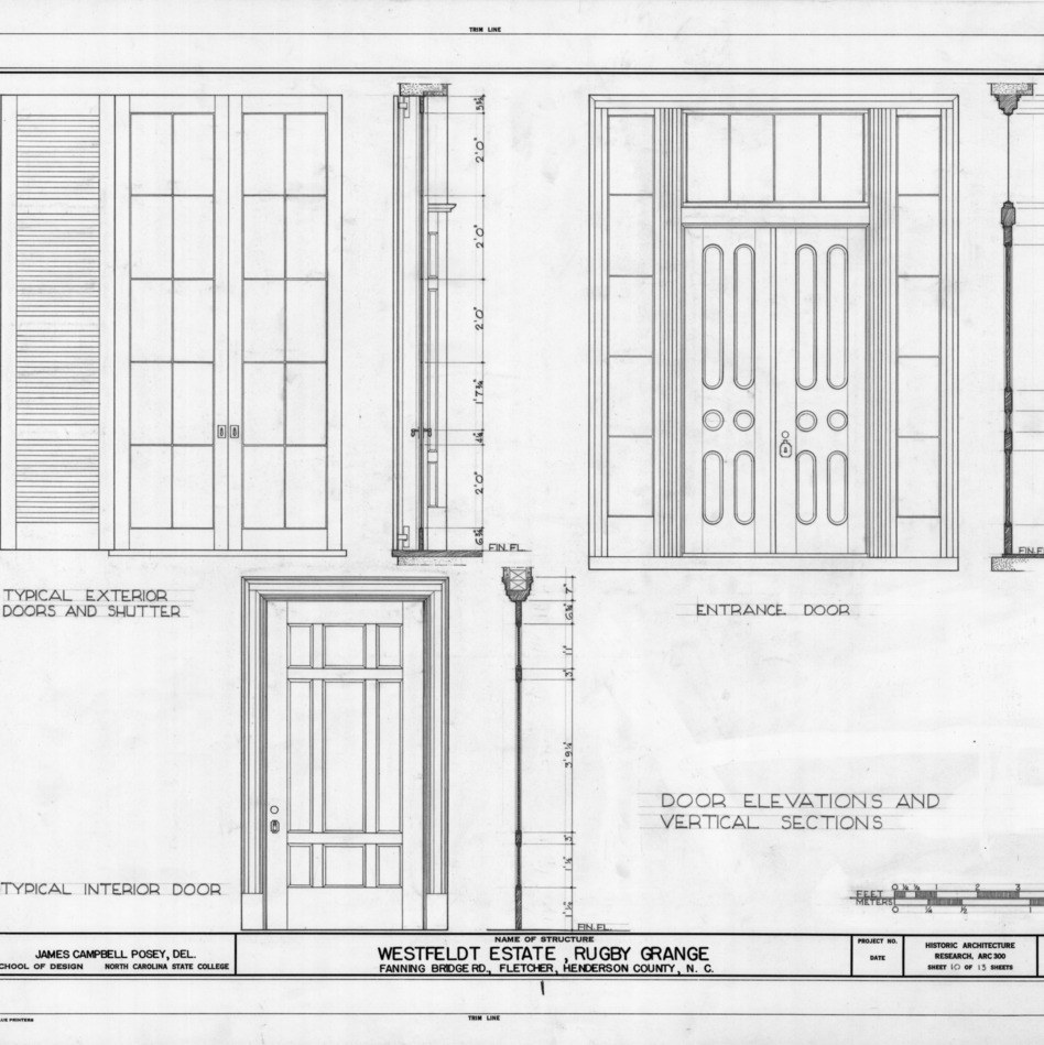 Door elevations and sections, Rugby Grange, Henderson County, North Carolina