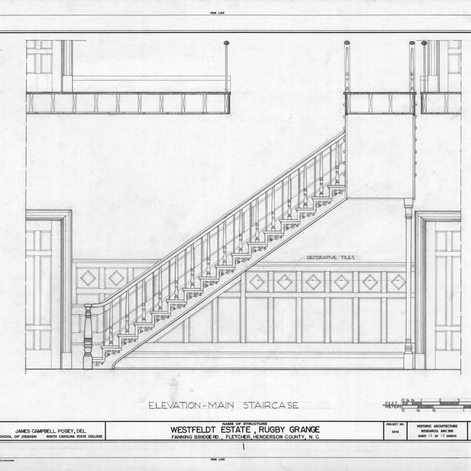 Stairway elevation, Rugby Grange, Henderson County, North Carolina