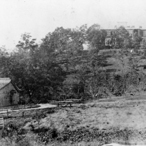 View with outbuilding, Rugby Grange, Henderson County, North Carolina