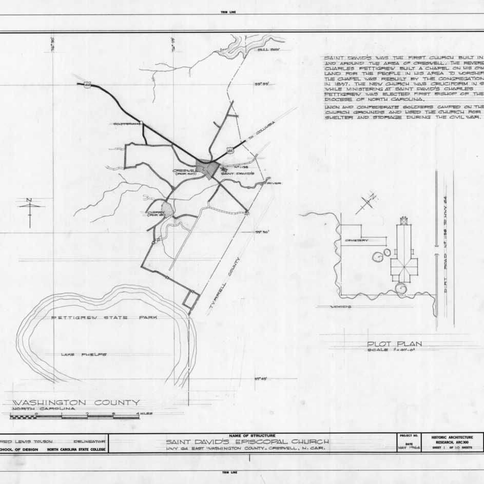 Site plan and notes, St. David's Episcopal Church, Washington County, North Carolina