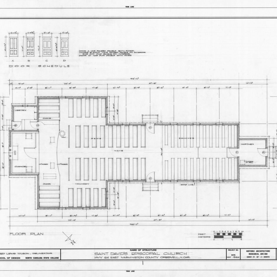 Floor plan and door schedule, St. David's Episcopal Church, Washington County, North Carolina