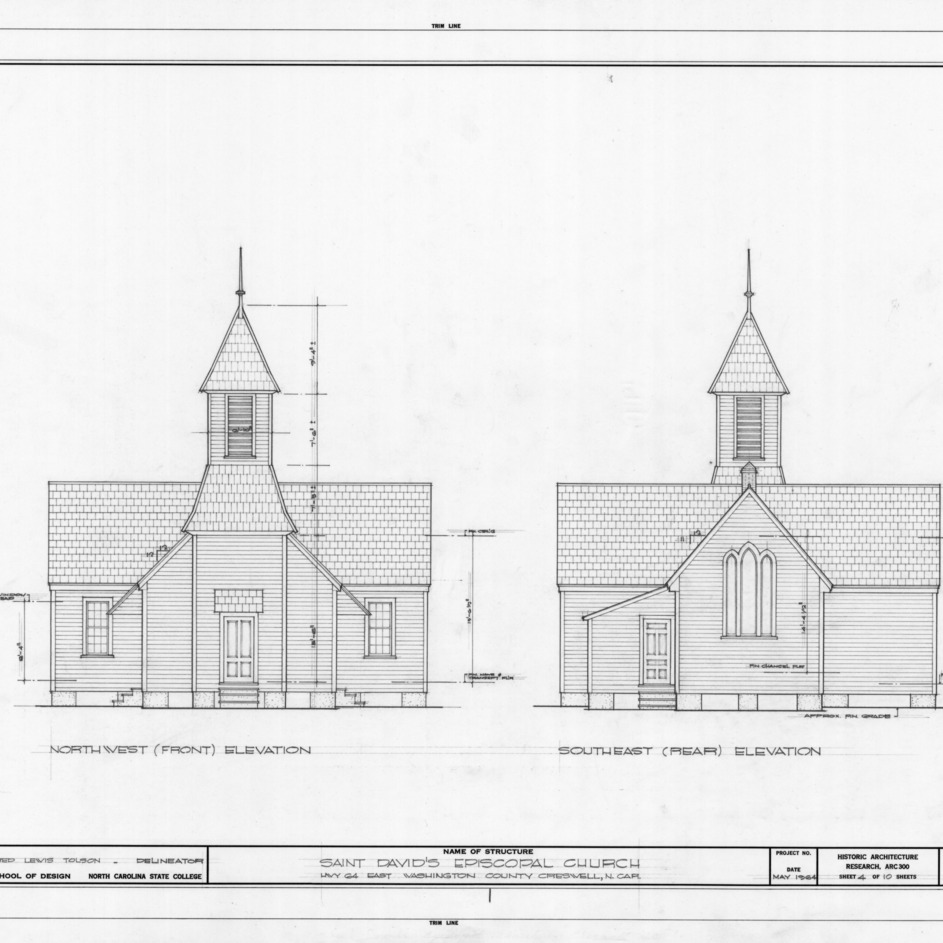 Northwest and southeast elevations, St. David's Episcopal Church, Washington County, North Carolina