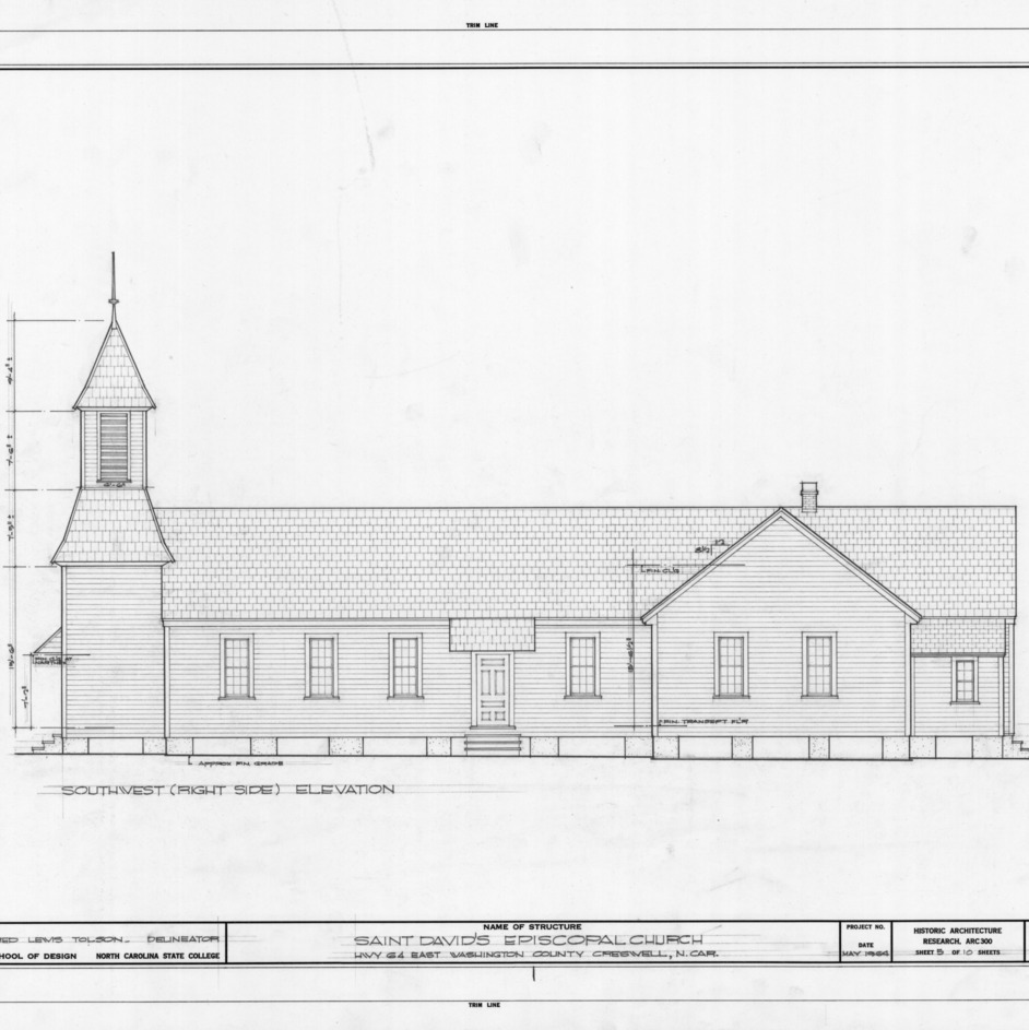 Southwest elevation, St. David's Episcopal Church, Washington County, North Carolina