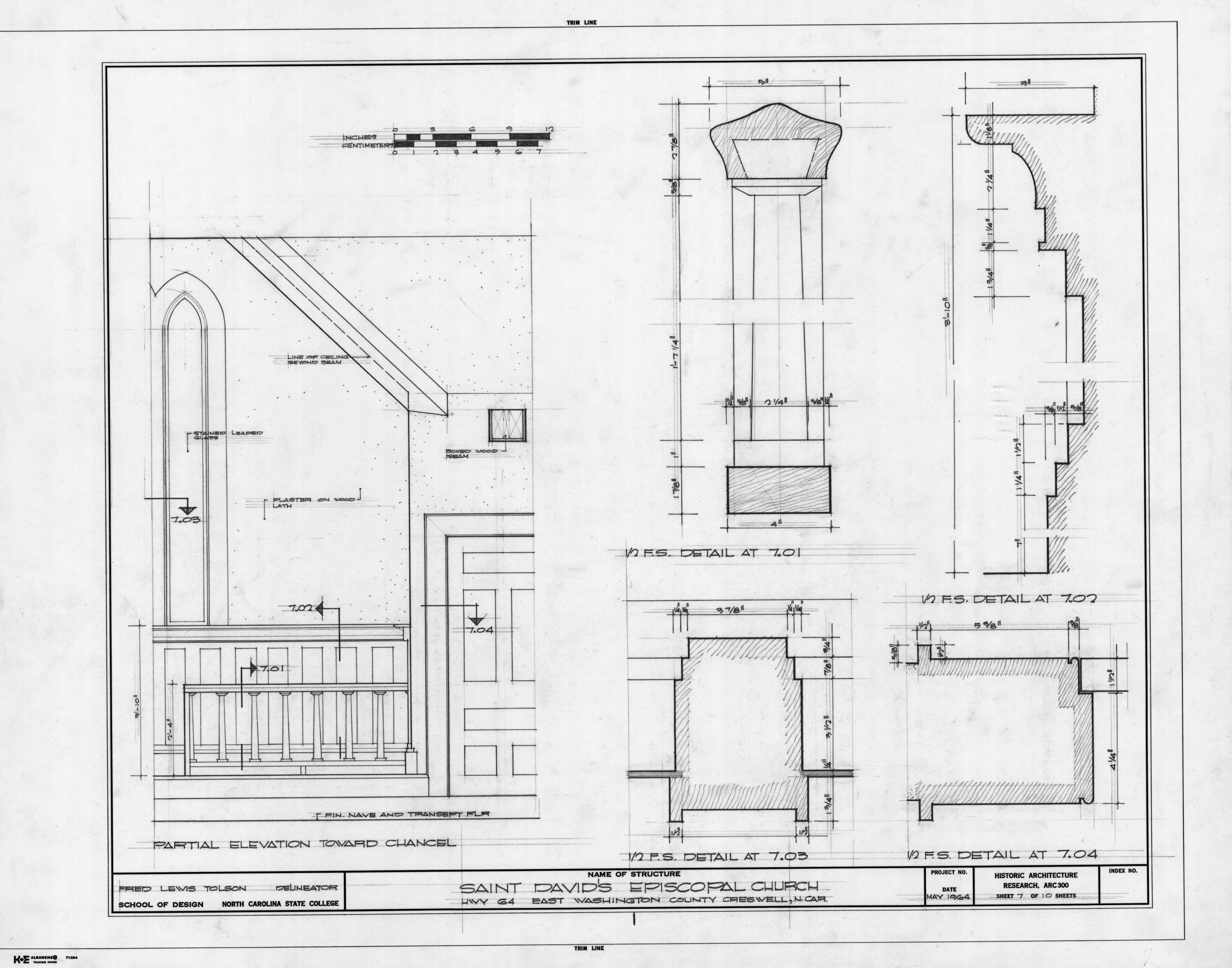 Partial interior elevation and details, St. David's