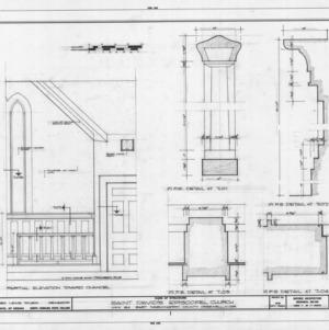 Partial interior elevation and details, St. David's Episcopal Church, Washington County, North Carolina