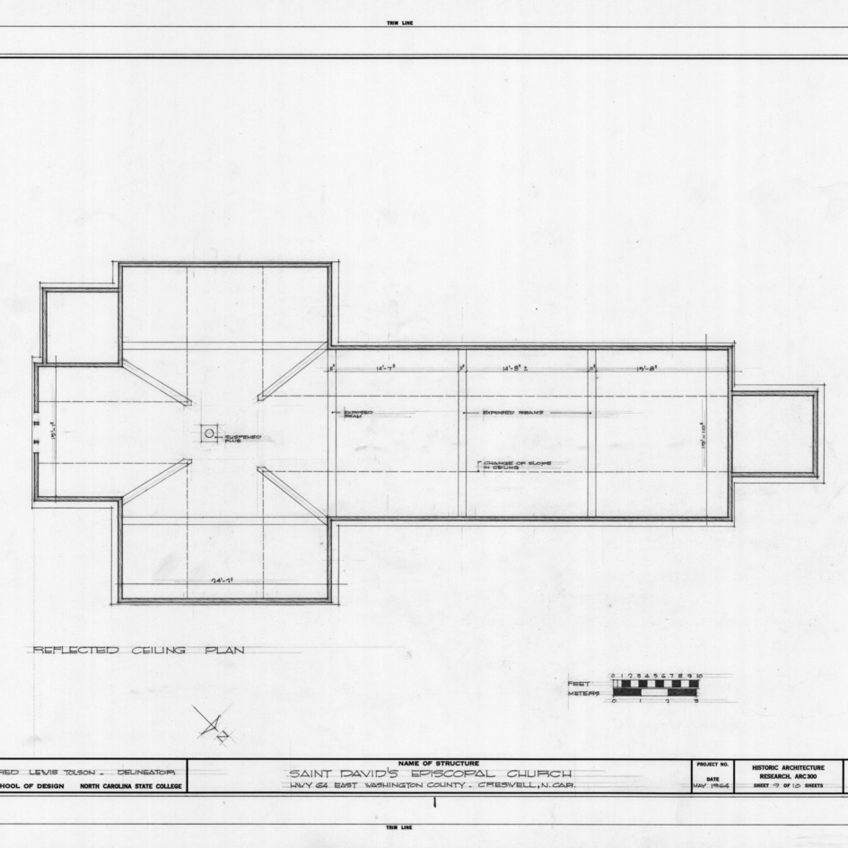Reflected ceiling plan, St. David's Episcopal Church, Washington County, North Carolina