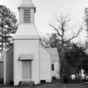 Front view with cemetery, St. David's Episcopal Church, Washington County, North Carolina