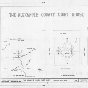 Location map and site plan, Alexander County Courthouse, Taylorsville, North Carolina