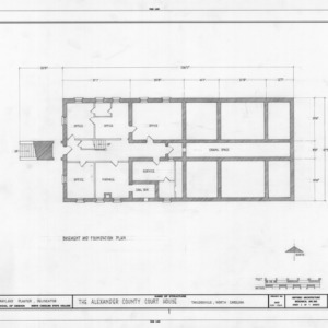 Basement plan, Alexander County Courthouse, Taylorsville, North Carolina