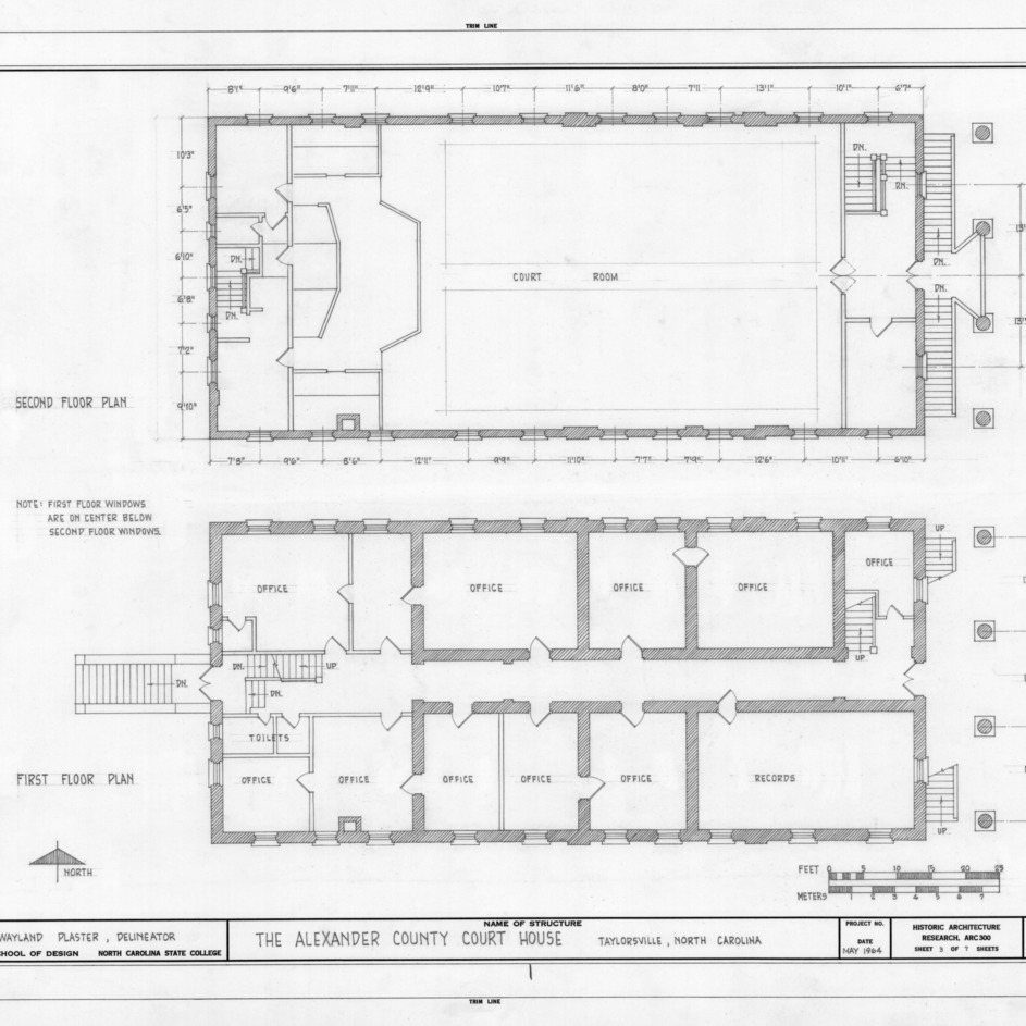 First and second floor plans, Alexander County Courthouse, Taylorsville, North Carolina