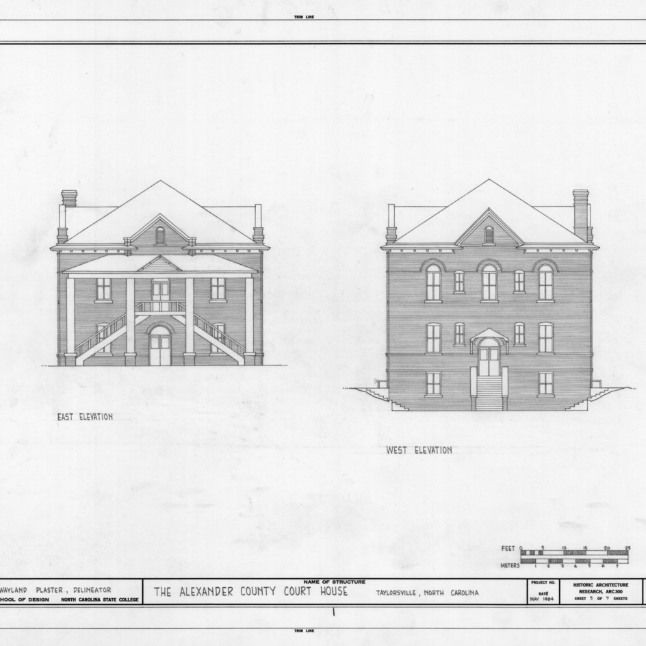East and west elevations, Alexander County Courthouse, Taylorsville, North Carolina