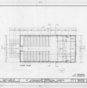 First floor plan, St. Athanasius Episcopal Church, Burlington, North Carolina