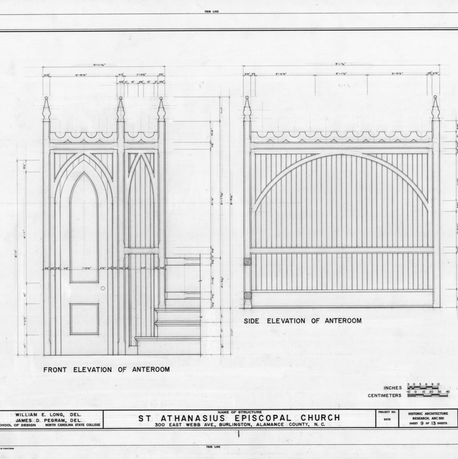 Anteroom elevations, St. Athanasius Episcopal Church, Burlington, North Carolina
