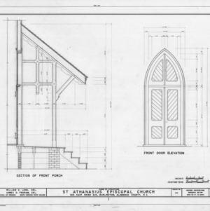 Porch section and door elevation, St. Athanasius Episcopal Church, Burlington, North Carolina