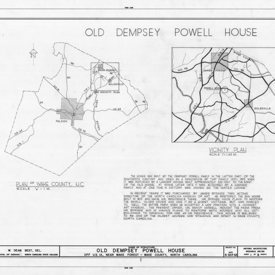 Title page with location maps and notes, Old Dempsey Powell House, Wake County, North Carolina