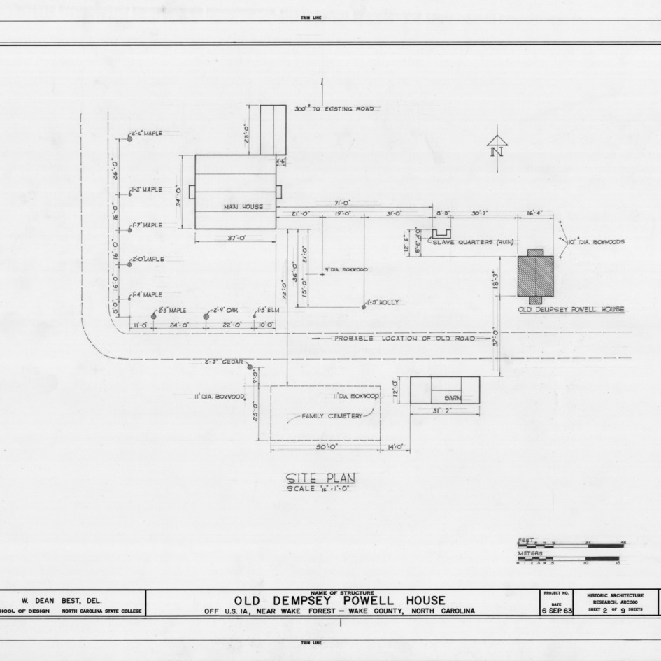 Site plan, Old Dempsey Powell House, Wake County, North Carolina