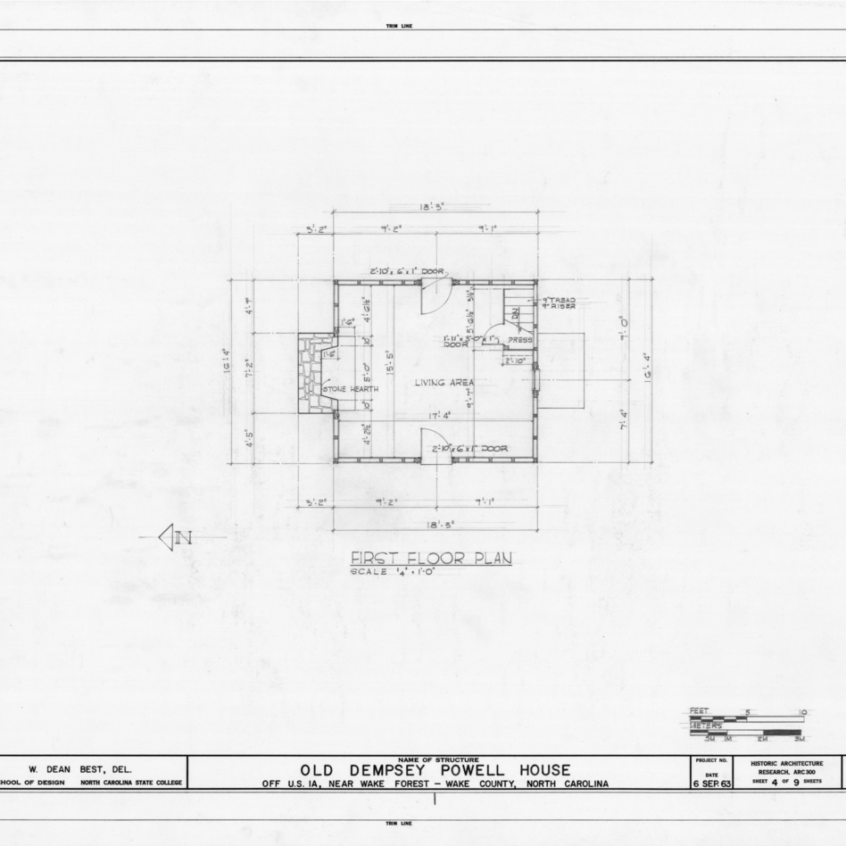 First floor plan, Old Dempsey Powell House, Wake County, North Carolina