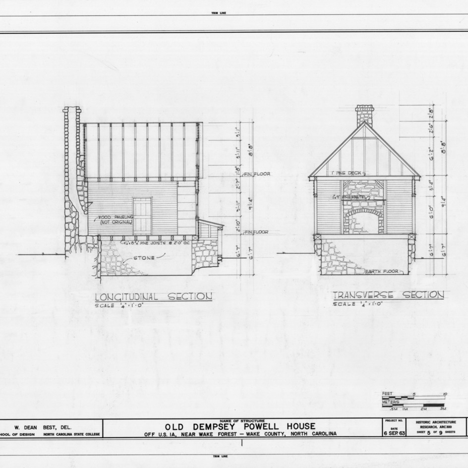 Longitudinal and cross sections, Old Dempsey Powell House, Wake County, North Carolina