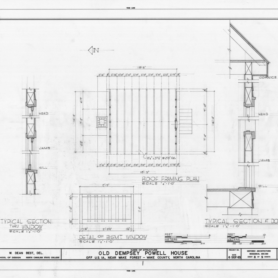 Details and roof framing plan, Old Dempsey Powell House, Wake County, North Carolina