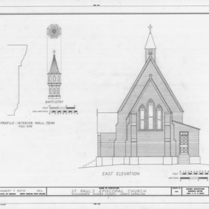 East elevation and details, St. Paul's Episcopal Church, Wilkesboro, North Carolina