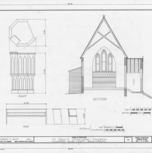 Cross section and details, St. Paul's Episcopal Church, Wilkesboro, North Carolina