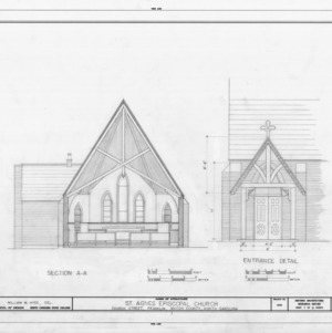 Cross section and entrance detail, St. Agnes Episcopal Church, Franklin, North Carolina