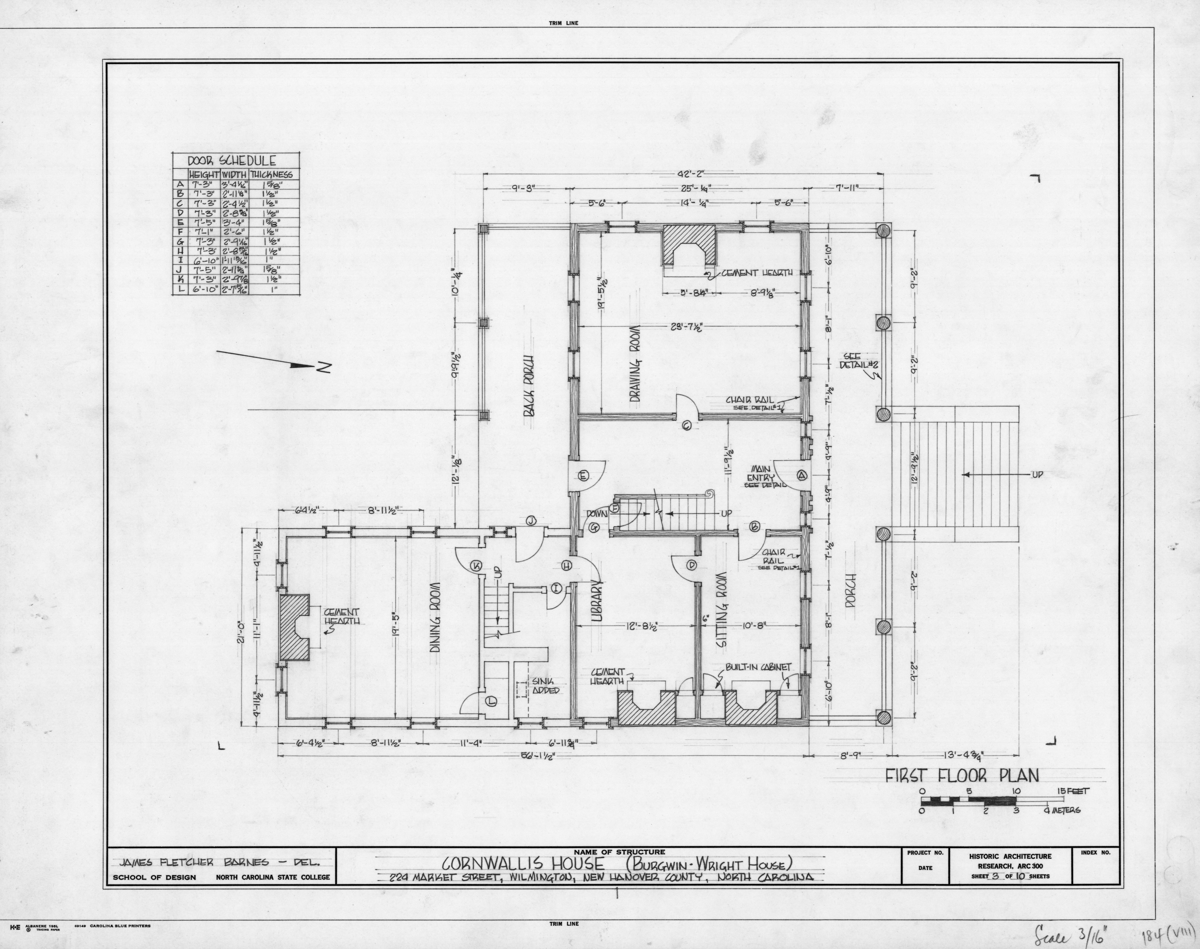 First Floor Plan Burgwin Wright House Wilmington North