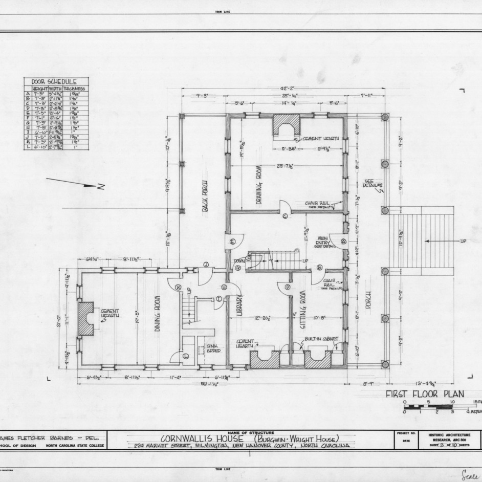 First floor plan, Burgwin-Wright House, Wilmington, North Carolina