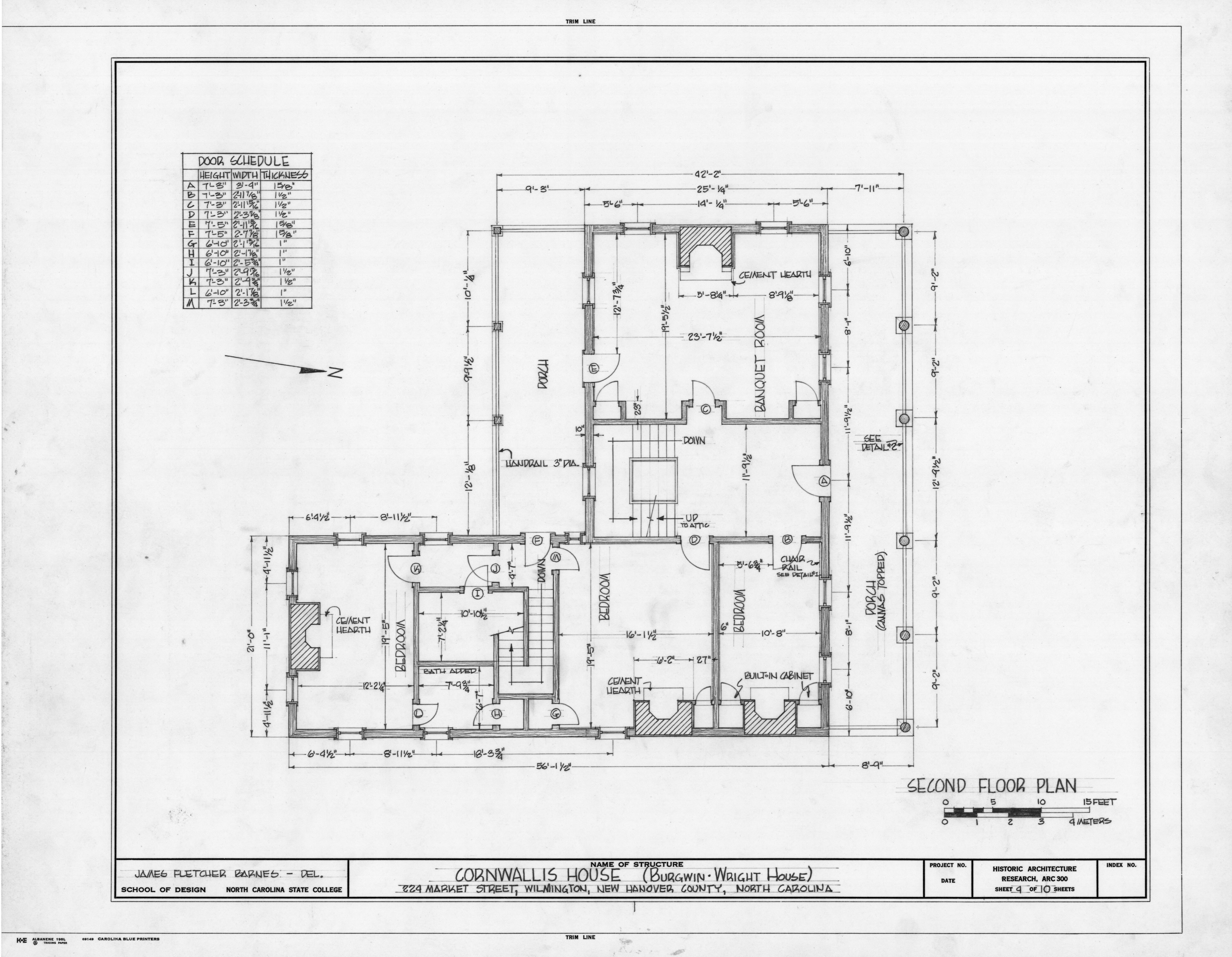 Second Floor Plan Burgwin Wright House Wilmington North