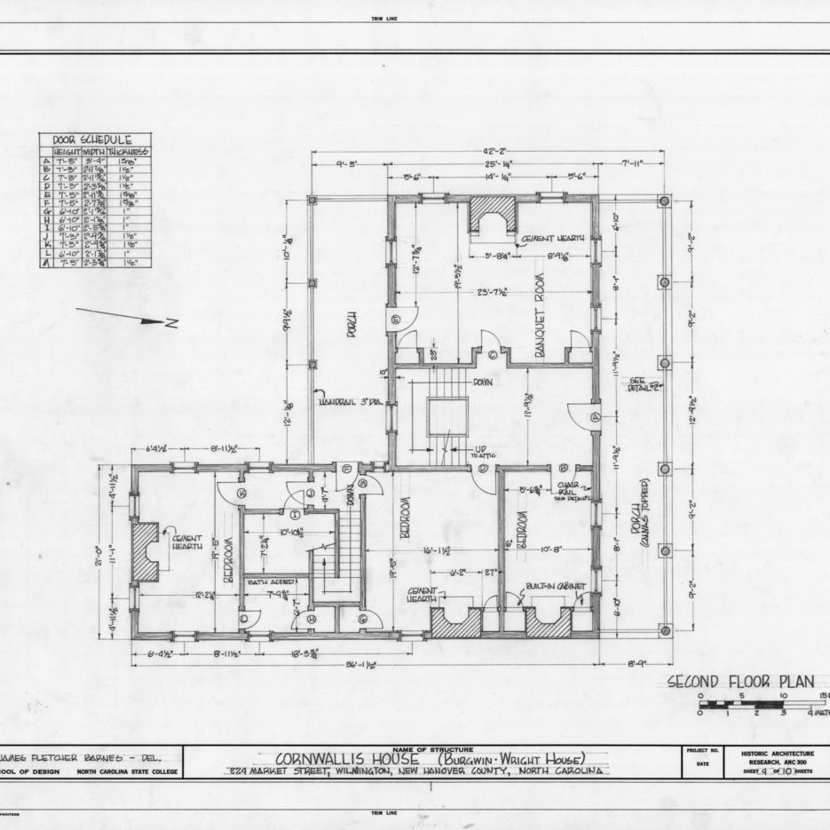Second floor plan, Burgwin-Wright House, Wilmington, North Carolina
