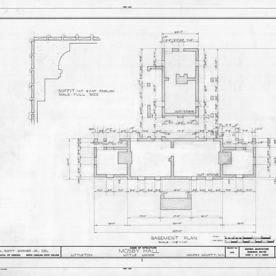 Basement plan and detail, Little Manor, Littleton, North Carolina