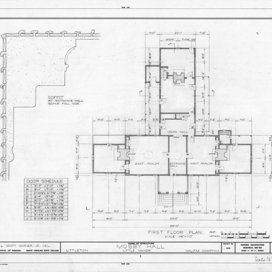 First floor plan and detail, Little Manor, Littleton, North Carolina