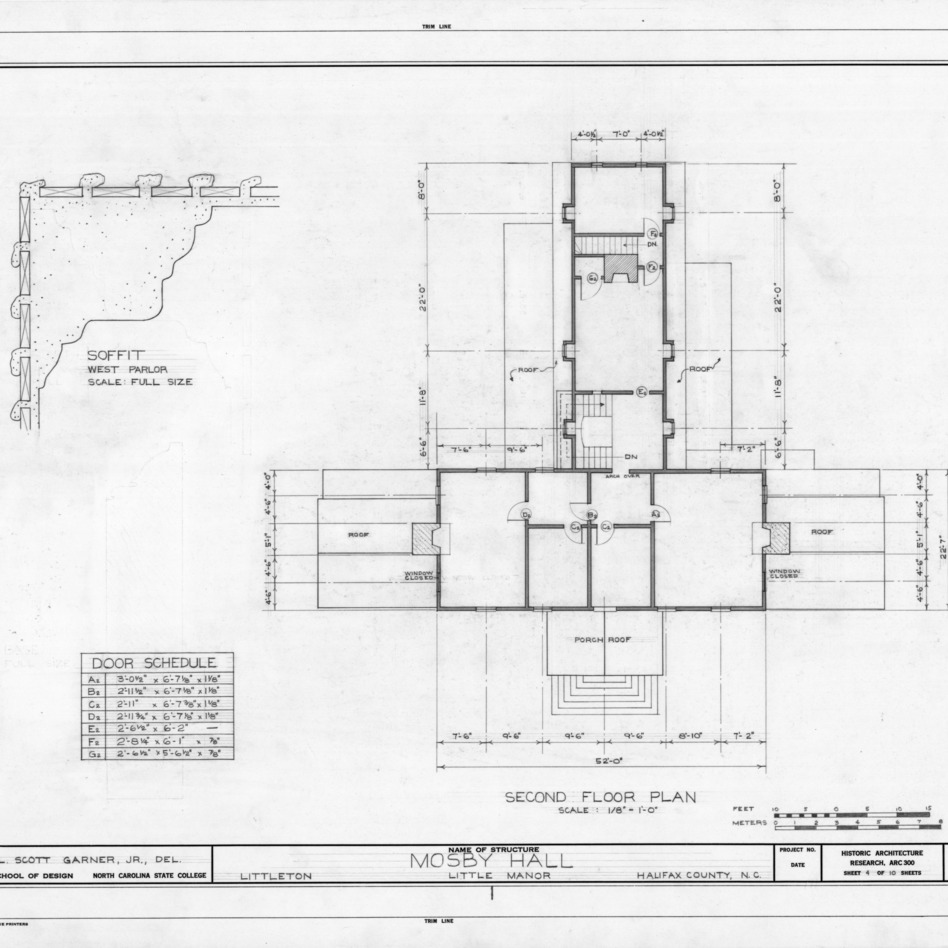 Second floor plan and detail, Little Manor, Littleton, North Carolina