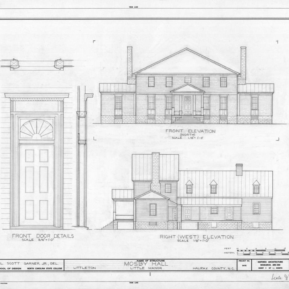 Elevations and front door detail, Little Manor, Littleton, North Carolina