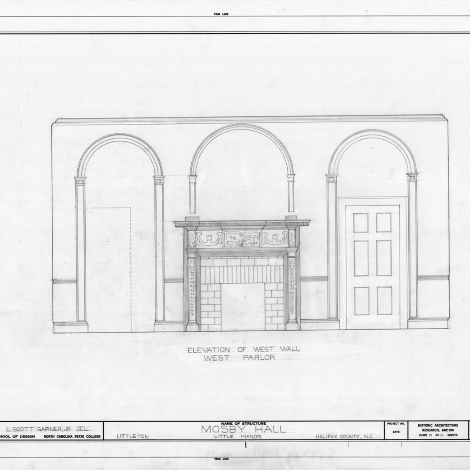 Interior elevation, Little Manor, Littleton, North Carolina