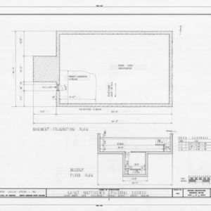 Foundation and balcony floor plans, St. Matthew's Episcopal Church, Hillsborough, North Carolina