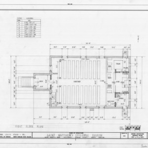 First floor plan, St. Matthew's Episcopal Church, Hillsborough, North Carolina