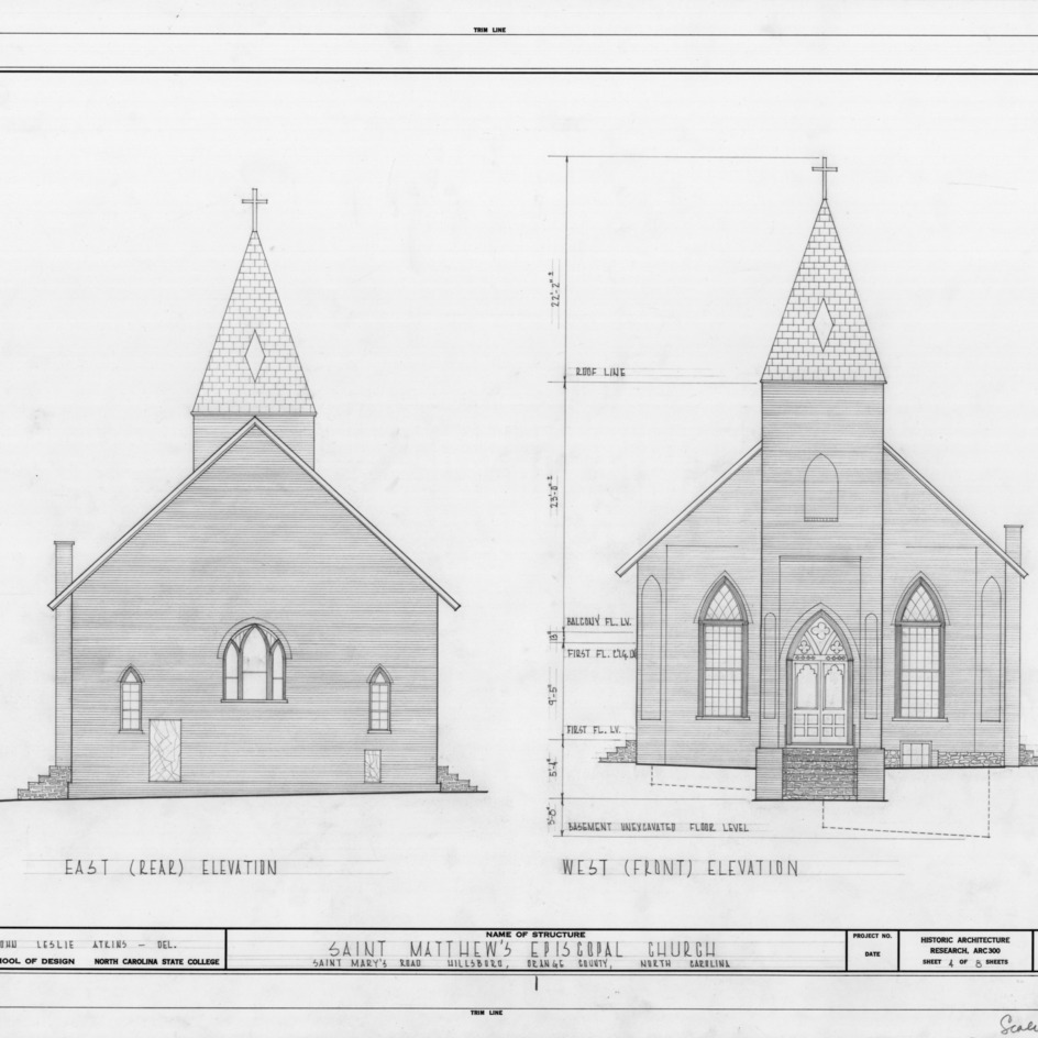 East and west elevations, St. Matthew's Episcopal Church, Hillsborough, North Carolina