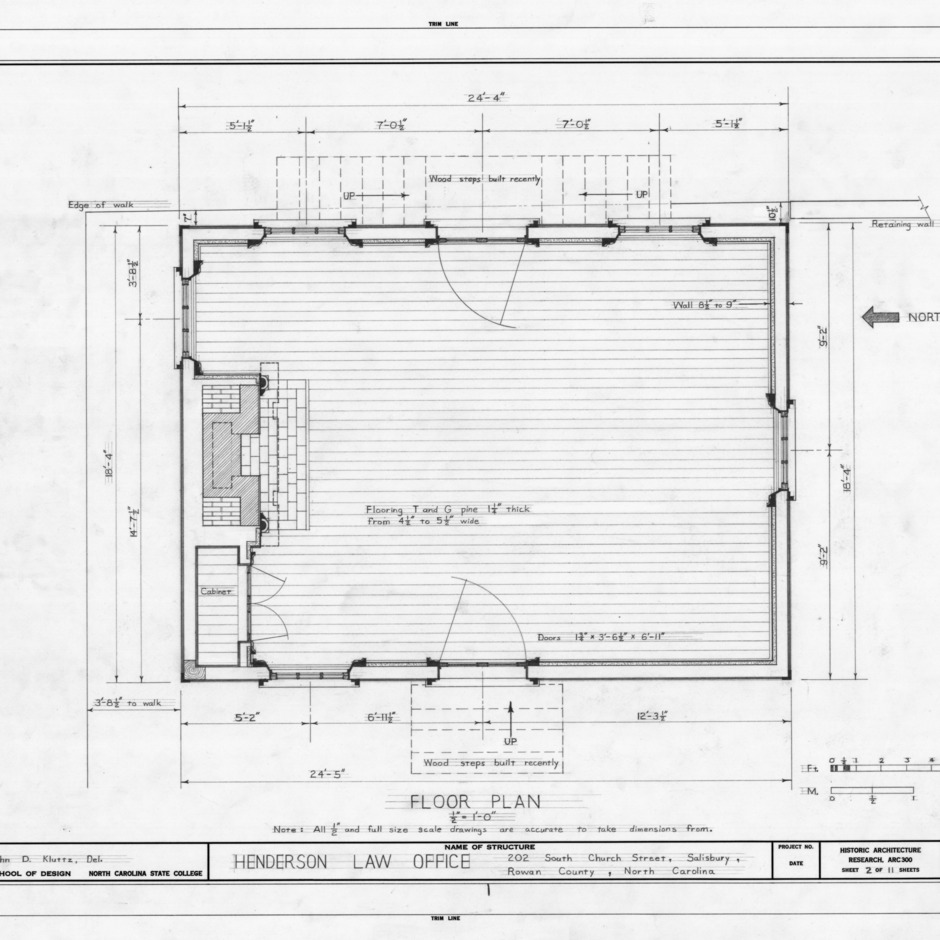 Floor plan, Archibald Henderson Law Office, Salisbury, North Carolina