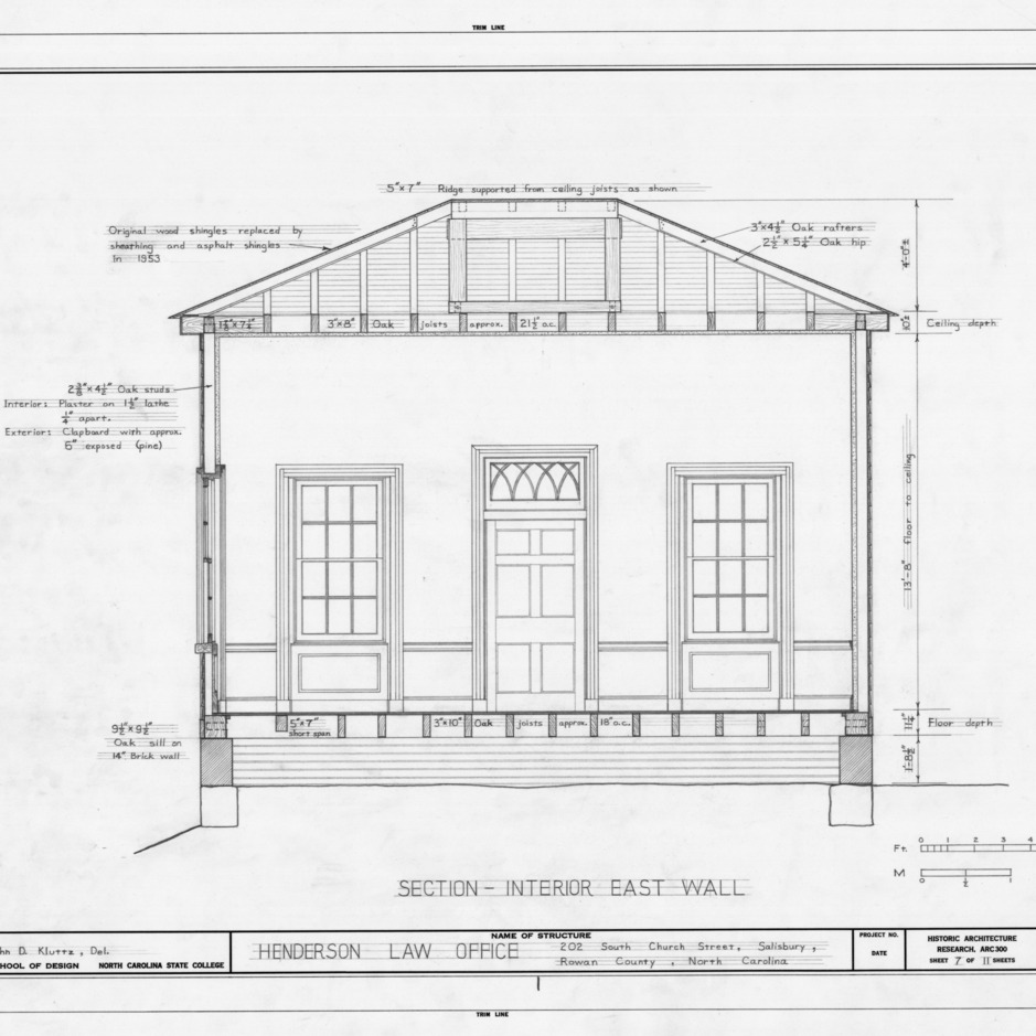 East wall longitudinal section, Archibald Henderson Law Office, Salisbury, North Carolina