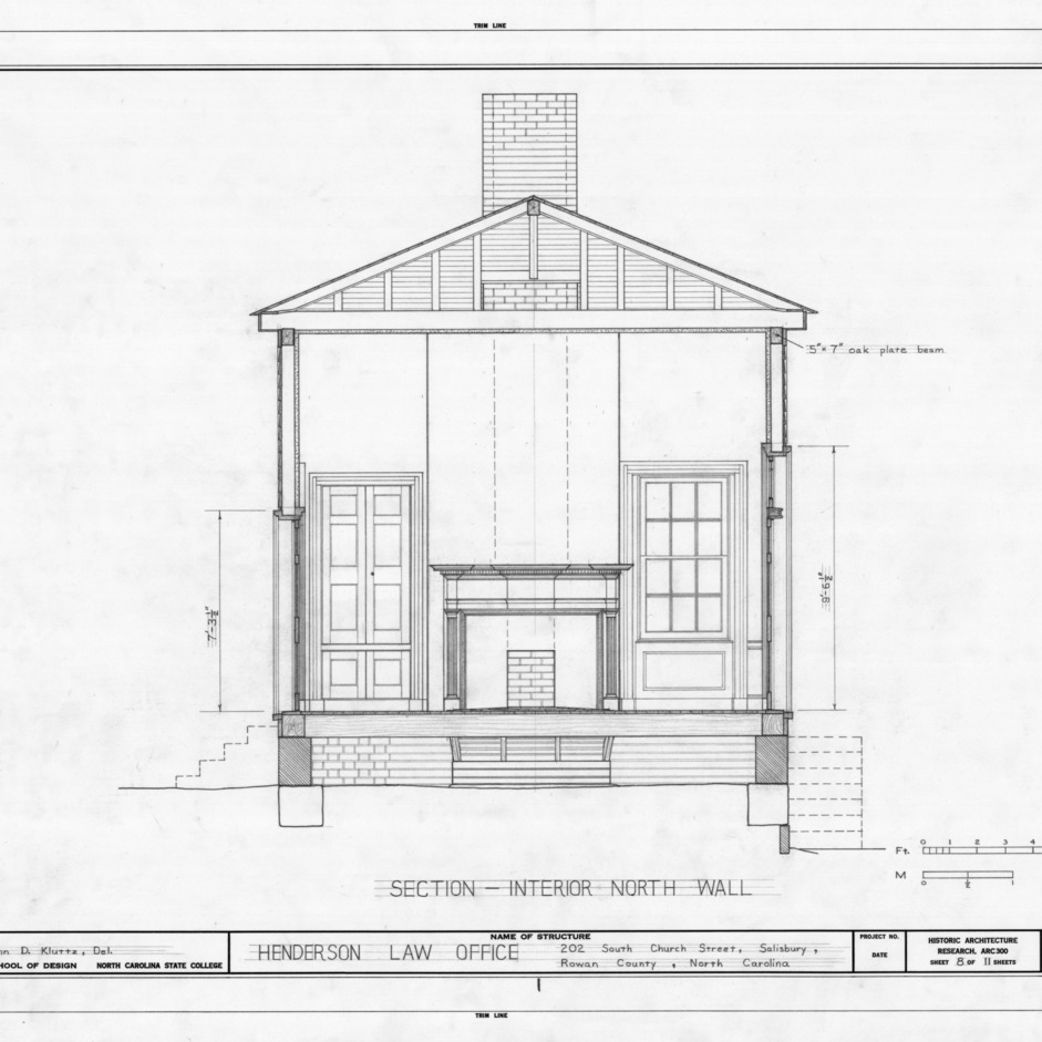 North wall cross section, Archibald Henderson Law Office, Salisbury, North Carolina